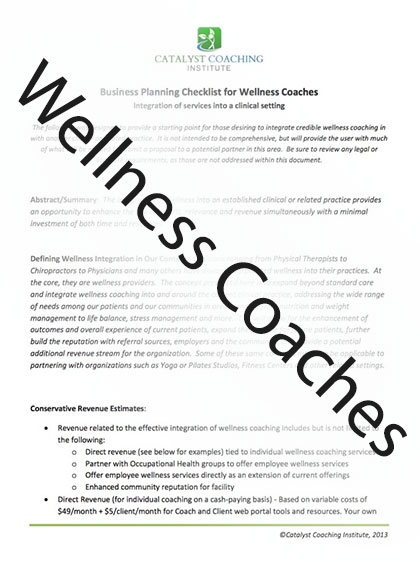 Business Planning Checklist for Wellness Coaches